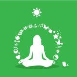 Yogamädchenschattenbild, Yogaikonen Stockfotos