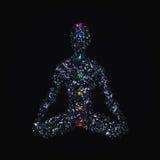 Yogamannen i lotusblomma poserar med chakras som göras av polygoner royaltyfri illustrationer