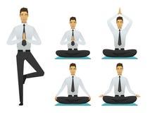 Yogamannen poserar illustrationen Arkivfoto