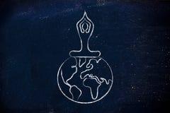 Yogameditatie: persoonszitting in lotusbloempositie boven worl Stock Foto's