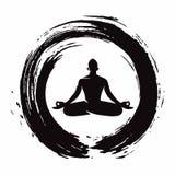Yogameditation med Zen Circle Logo Template Vector stock illustrationer