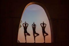 Yogameditation utomhus royaltyfri foto
