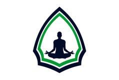 Yogameditations-Logokonzept lizenzfreie stockfotos
