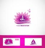 Yogameditations-Lotosblumenlogo Lizenzfreie Stockbilder