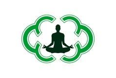 Yogameditationslogo-Ikonendesign stockbilder
