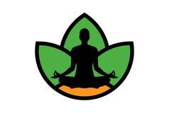 Yogameditationslogo-Ikonenkonzept stockbild