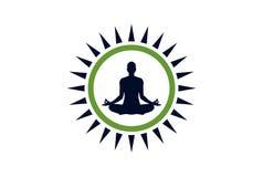 Yogameditationslogokonzept-Ikonendesign stockfoto
