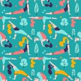Yogameisjes op de groene achtergrond van het park naadloze patroon Mensen die activiteiten en sporten openlucht vlak ontwerp doen vector illustratie