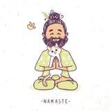 Yogamens met kat royalty-vrije illustratie