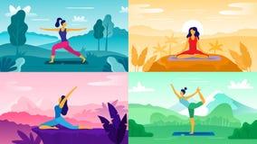 Yogaoefening op aard Ontspan oefeningen, in openlucht gezondheidszorggeschiktheid en gezonde levensstijl De yoga stelt vlakke vec vector illustratie