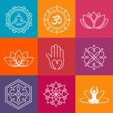 Yogapictogrammen Stock Afbeeldingen