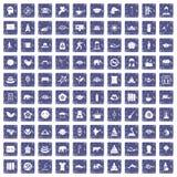 100 yogapictogrammen geplaatst grunge saffier Royalty-vrije Stock Foto