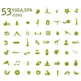 Yogapictogrammen, massage, kuuroordpictogrammen Stock Fotografie