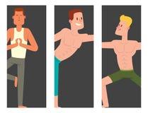 Yogapositioner mans livsstil f?r sport f?r fred f?r manlig koncentration f?r meditation f?r illustration f?r kort f?r vektor f?r  vektor illustrationer