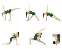 Yogaserie 6 Stellungen. Lizenzfreies Stockbild