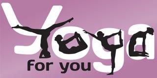 Yogasilhouetten van posities en brieven Royalty-vrije Stock Foto's