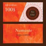 Yogastudio-Gutscheinschablone Stockbild