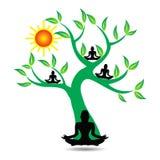 Yogaträd stock illustrationer