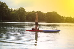 Yogatribune die omhoog SUP schoudertribune paddelen royalty-vrije stock afbeeldingen