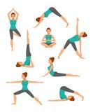 Yogauppsättning Vektorillustration, lägenhetstil Arkivbilder