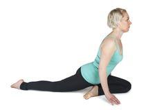 Yogavrouw groene position_142 Stock Foto's