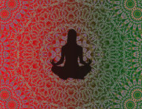 Yogavrouw met mandala Stock Afbeelding
