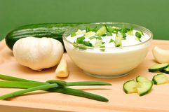 Yoghurt. With the cucumber and with chives Stock Images