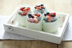 Yoghurt. Blueberry and Strawberry Yoghurt cake Royalty Free Stock Photo