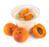 Yoghurt with apricot and pieces Royalty Free Stock Images