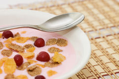 Yoghurt with berries royalty free stock images