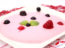 Yoghurt with berries Stock Photos