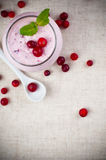 Yoghurt and berry dessert cream Stock Images