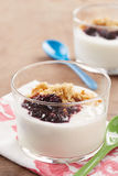 Yoghurt with berry jam Royalty Free Stock Photos