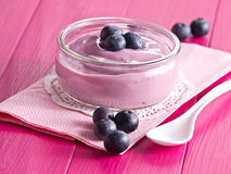 Yoghurt with blueberries Stock Image