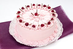 Yoghurt cake. With fresh sour cherry Royalty Free Stock Photos
