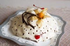 Yoghurt cake with chocolate and cherries Stock Photo