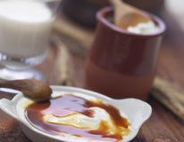 Yoghurt with caramel Royalty Free Stock Photography