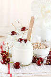 Yoghurt with cherry Royalty Free Stock Images