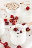 Yoghurt with cherry Stock Photo