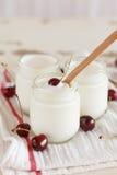 Yoghurt with cherry Stock Photography