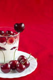 Yoghurt with cherry Stock Photo