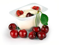 Yoghurt with cherry Royalty Free Stock Photography