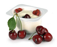 Yoghurt with cherry Royalty Free Stock Photos