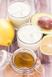 Yoghurt cocktail avocado lemon honey Royalty Free Stock Image