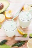 Yoghurt cocktail avocado lemon honey Stock Image