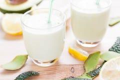 Yoghurt cocktail avocado lemon honey Stock Photography