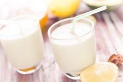 Yoghurt cocktail avocado lemon honey Stock Images