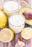 Yoghurt cocktail avocado lemon honey Royalty Free Stock Images