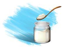 Yoghurt or cream with brush stroke Stock Photo