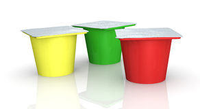 Yoghurt cups Royalty Free Stock Photography